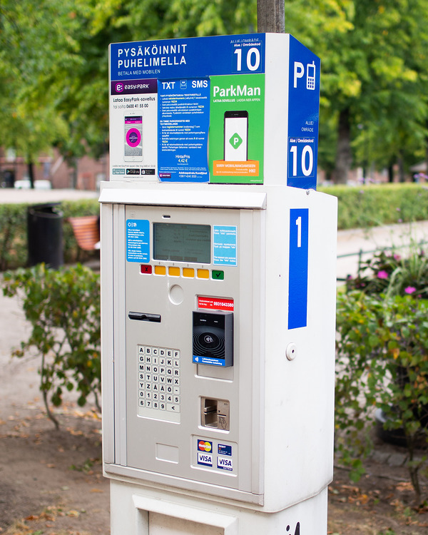 Parking meter that sells public transport tickets